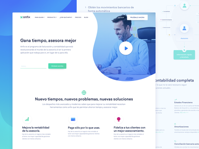 Target Page Design for Invoicing SaaS Company finance clean business website product bookkeeping accounting whitespace zajno ux ui anfix