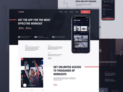 Homepage for a training app website promo workout ui ux webdesign team company one unity training