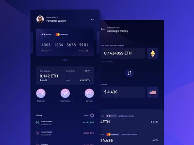 Crypto Wallet (WIP) futuristic blockchain exchange finance decentralized ui ux oneunite ios app wallet