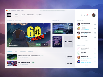 Digital distribution platform for video games oneunite platform video game app design analytics startup clean app product ux ui