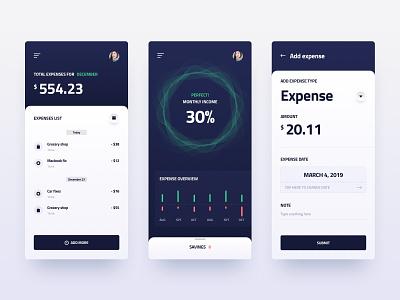AI-based money-saving app accounting ios design business finance analytics app product clean ux ui