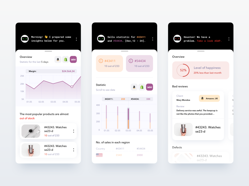 E-commerce analytic service with an AI-bot research analytics chart analytic accounting design finance business ios analytics startup app product clean ux ui