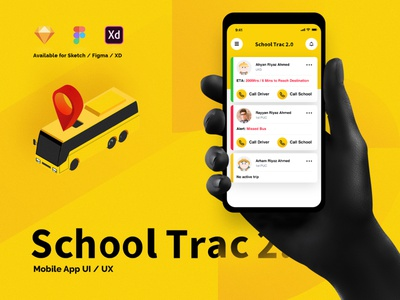 School Trac 2.0 - School Bus Tracking App nihalgraphics india ux download free download freebie mobile app transport app school transportation school kids student tracking student app tracking app bus app school driver app college app school app bus tracking app school bus app