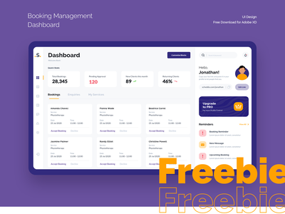 Freebie (XD) - Booking Management - Dashboard doctor booking management bookings design app nihalgraphics india ui ux free mockup freebie-friday free download freebies freebie psd free psd free xd free adobe xd freebie xd freebie