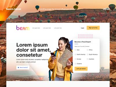 Beam - Travel Influencer landing page landing page travel influencer travel app travel planner travel website travel influencer ui ux