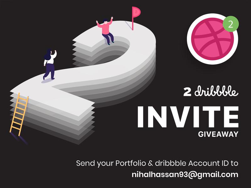 2 x Dribbble Invite typography illustration app nihalgraphics india ui ux