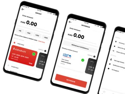 Deposit & Withdraw Screens - JL Kharafi Digital Bank Mobile App