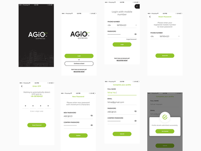 Agio - Onboarding & Sign in