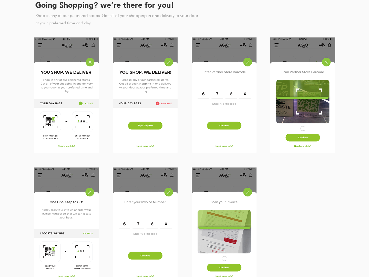 Agio - Shopping Bag Delivery experience ui ux logistics delivery shopping bag delivery shopping bag cart pickup shopping