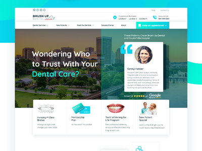 Brushup Dental - Website Design typography branding android illustration mobile app designer mangalore www.nihalgraphics.com app mobile nihal.graphics india nihalgraphics ui ux design healthcare website dentist website dental website design dental