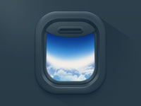 Airplane window black icon ios ui android plane airplane air blue interface ipad iphone flat