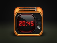 Icon Tv red clock