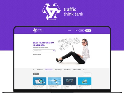 SEO Courses Website Design - Traffic Think Tank brand agency creative creative web design clean design courses seo agency seo company seo website design coloful ui pack ux design ui design