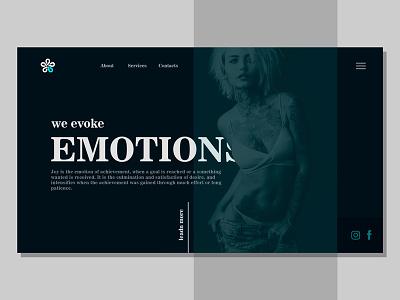 Fashion atelier website girl emotions dark site website design web fashion
