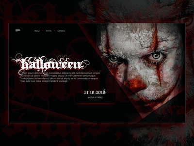 Halloween party web page red dark ux design party halloween template site web