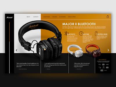 Website for Marshall headphones product headphones marshall dark website ui ux online idea design site design web site