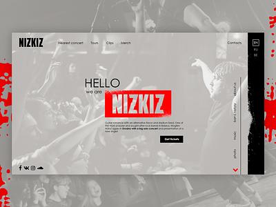 "Web-site for the music band ""NIZKIZ"" ux  ui grey idea online design web rock band rock ux design website ux site"