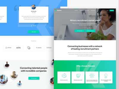 Kipawa - Website career branding clean development front-end ui responsive hr recruitment agency recruitment agency landing page design ux