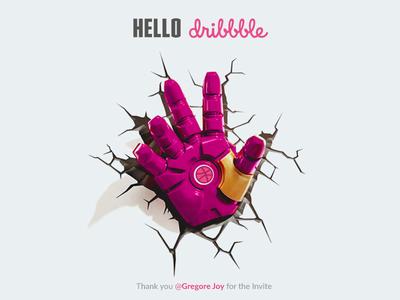 Hello, Dribbblers! newyear 2018 breaking illustration hand short first ironman pink dribbble hello