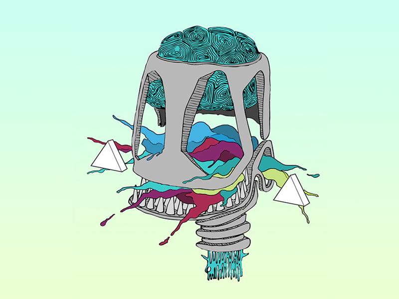 Skull isometric paint brain gradient calavera skull color