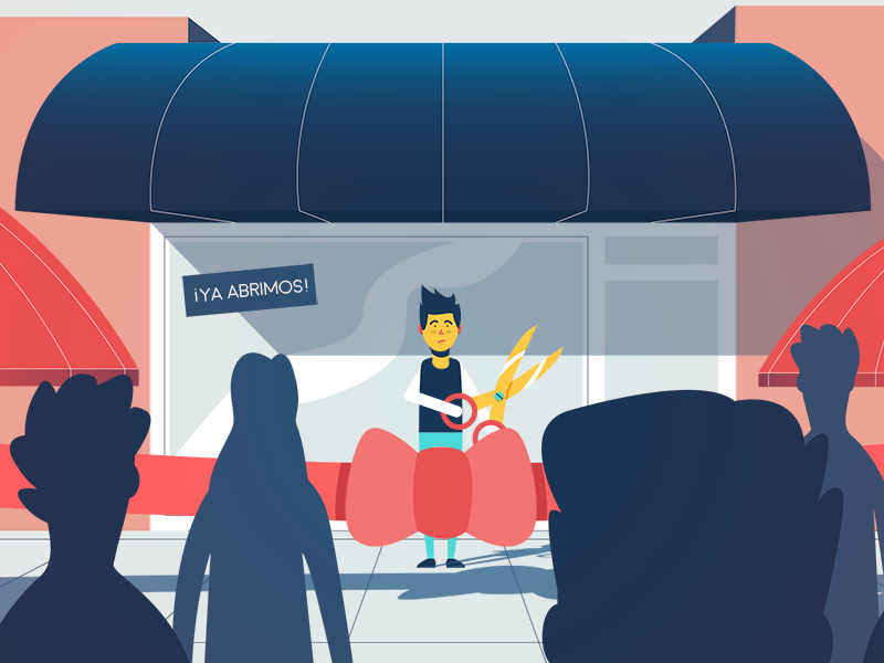 We're open storefront scissors character perspective silhouettes flat 2d red blue store shop