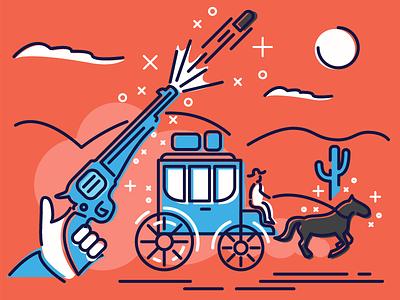 Western brown blue orange horse gun revolver pistol western