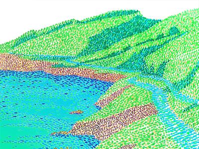 Road to Ensenada green blue mountain grass sea color road