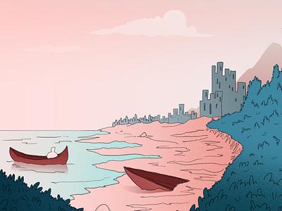 Adventure illustration 2d beach sand sky gradient green pink boat adventure sea