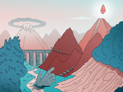 The Goal adventure pink green gradient sky hand mountain diamond