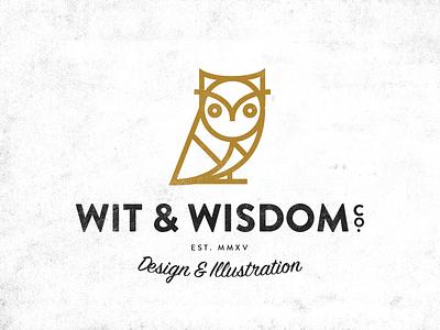 Wit & Wisdom logo wise single stroke bird owl illustration design wisdom wit