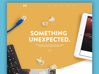 Something Unexpected layer hero home responsive agency internet yellow flat website t1m