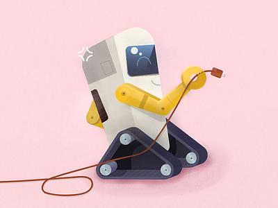 Outlet Robot subtle texture illustration happy space future outlet plug roboto