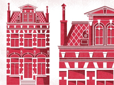 Holiday Card V1 vintage texture card christmas december building structure architecture holiday house two tone