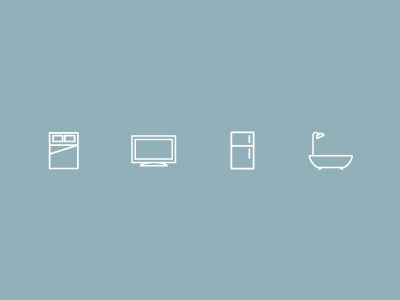 Some Home Icons home icons single weight white house bed tv lcd fridge bath shower illustrations