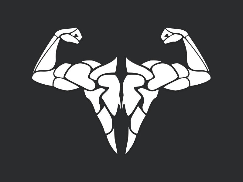 SISU sisu crossfit team animal skull deer back muscle flex spirit vector logo