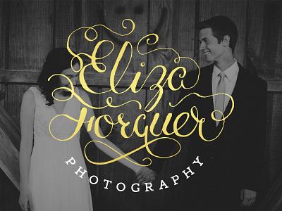 Eliza Forquer Photography photography logo wedding calligraphy handwritten type flourishes swirls gold