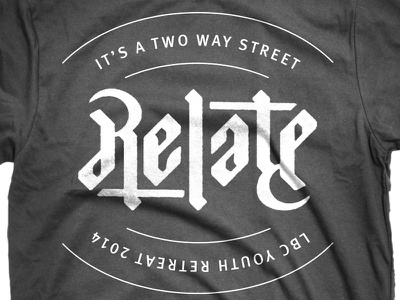 Relate Tee t-shirt relate youth retreat ambigram typography