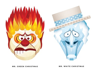 They're Too Much: Miser Brothers texture lava ice flame miser heat snow christmas vector illustration