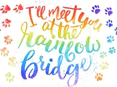 """I'll Meet You At The Rainbow Bridge"" Typographic Piece"
