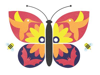 Pollination Party Vector Illustration summer vector simple pollination parks outdoors illustration hummingbirds flowers clean butterflies bats