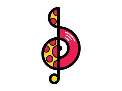 Deliciously Musical Logo Mark clean logo brand logo mark vector icon treble clef music notes records music pizza