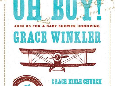 Vintage Travel Baby Shower Invite invite baby shower airplane adventure vintage stamp passport travel globe world map