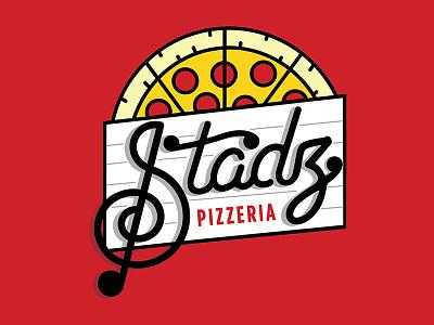Stadz Pizzeria Logo illustration vector sheet music pizza monoline logo treble clef music notes