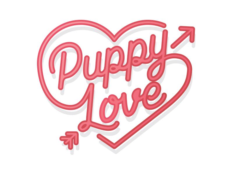 Puppy Love Logo valentines day arrow monoline cursive love puppy logo heart