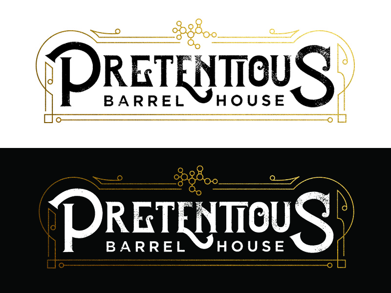 Pretentious Barrel House Logo fancy brand gold barrel beer sours brewing science molecule lines logo