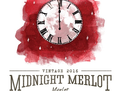 Midnight Merlot Label Illustration moon sketch rough stars watercolor illustration rustic clock wine