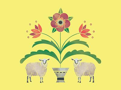 Old Friends Woolens Logo antique floral leaves vase texture sheep line art flower illustration