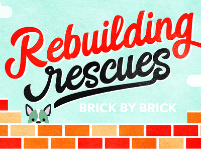 Rescue Rebuild Postcard brick french bulldog shelter dogs animals rescues