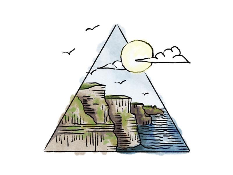 Moher landscape sea cliffs sea watercolor illustration sketch geometric irish ireland cliffs of mother moher