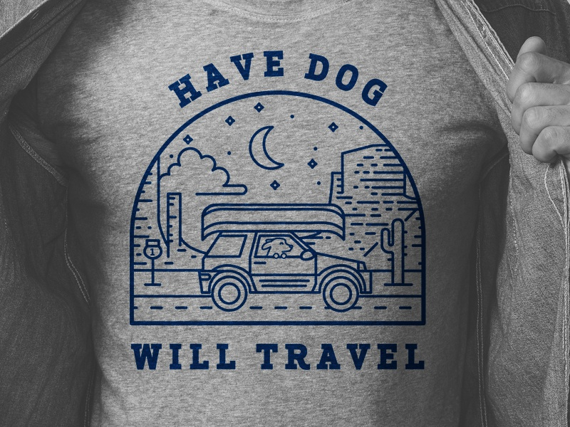 Have Dog Will Travel Illustration illustration line art night desert adventure pet dog road trip travel t-shirt